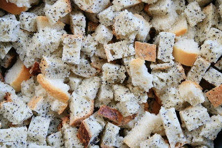 cubed: cut poppyseed and french bread in cubed chunks as a background