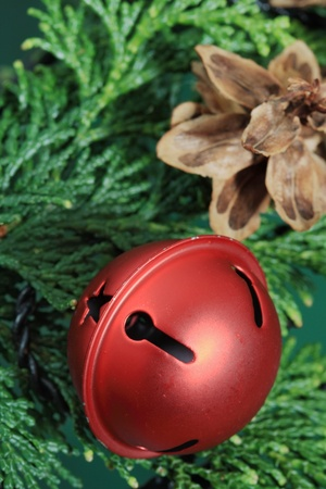 red christmas bell on greenery with pine cone in the background and selective focus Stock Photo - 8419029