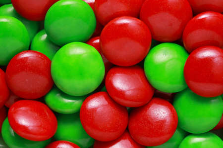 close up of red and green covered Christmas candies Stock Photo - 8419030