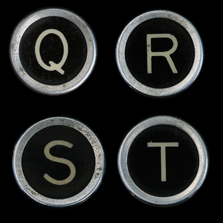 Q R S T keys from old typewriter on black background Stock Photo - 8564309
