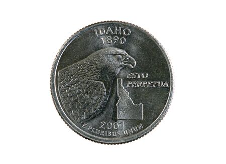 25 cents: Idaho state quarter coin isolated on white background