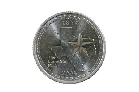 25 cents: Texas state quarter coin isolated on white background
