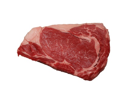 raw red black angus rib-eye steak meat isolated on white background