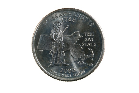 Massachusetts state quarter coin isolated on white background Stock Photo - 8721208