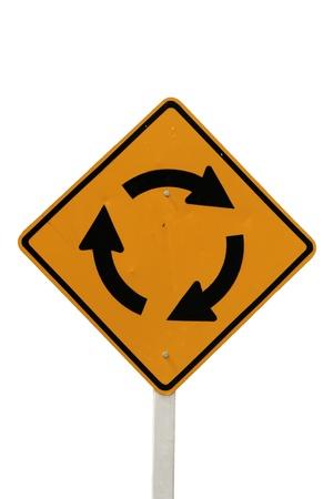 roundabout road sign isolated on white background Stock Photo - 8832078