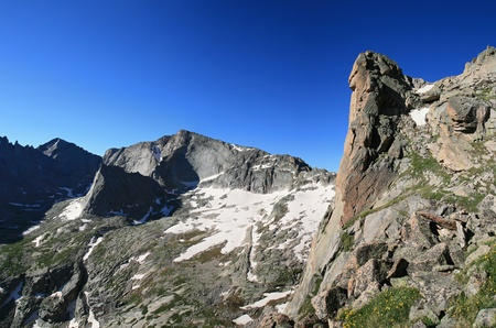 View south from the flanks of Arrowhead Peak in Rocky Mountain National Park towards Chief's Head Peak and Longs Peak in the Glacier Gorge region Stock Photo - 8832085