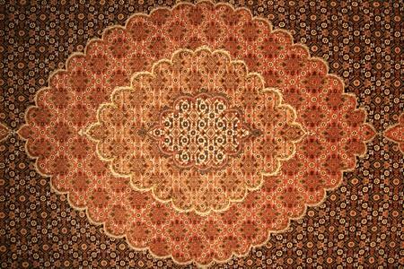 bruin en rood Perzisch tapijt achtergrondstructuur Stockfoto
