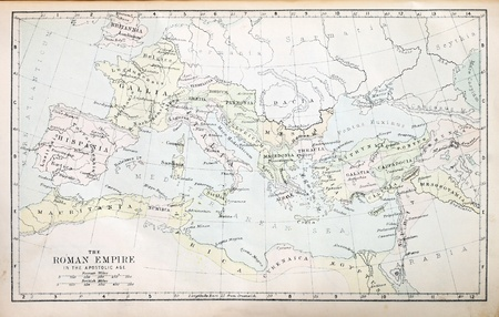 europe closeup: Map of the Roman Empire in the Apostolic age from a nineteenth century Bible Stock Photo