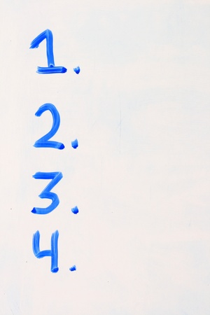 the numbers 1 2 3 4 listed on a white board in blue with copy space Stock Photo - 8832103