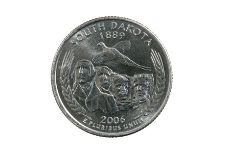 South Dakota state quarter coin isolated on white background Stock Photo - 8832109