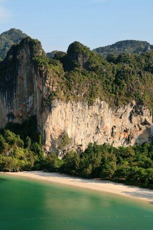 railey: Railay west beach and the Tiger Wall from the Thaiwand Wall