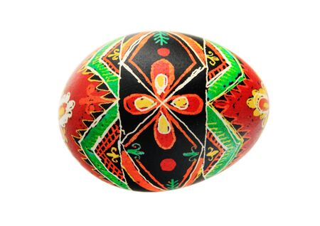black red and orange pysanka Easter egg isolated on white Stock Photo - 8832112