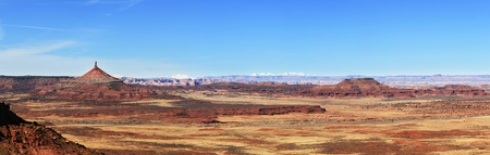 desert panorama from the Indian Creek area of Utah with the Canyonlands needles district and north six shooter tower Stock Photo - 9112631