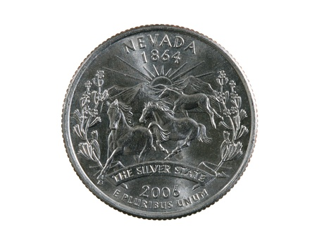 25 cents: Nevada state quarter coin isolated on white background