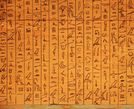 ancient Egyptian hieroglyphic panel carved in wood Stock Photo
