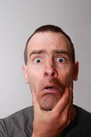 surprised man with half a mustache and the other half gone Stock Photo - 9178971