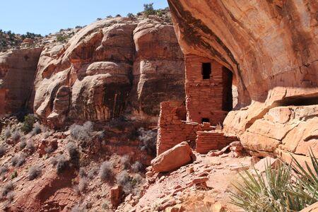 indian creek: ancient Native American tower cliff dwelling in Indian Creek Utah
