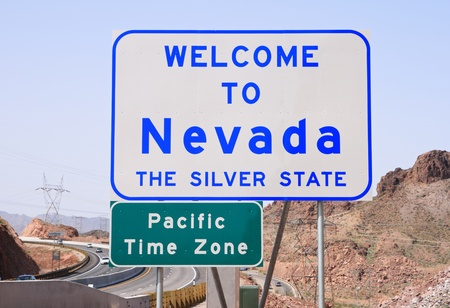 Welcome to Nevada sign on Highway 93 after crossing the Colorado River from Arizona Stock Photo - 9209895