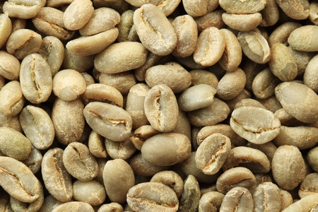 Ethiopian organic Yirga Cheffe green coffee beans macro Stock Photo - 9312116