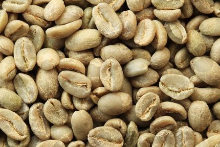 Ethiopische organische Yirga Cheffe groene koffiebonen macro Stockfoto