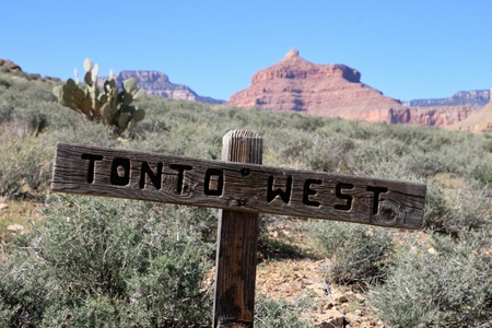 Tonto West Trail sign in the Grand Canyon Stock Photo - 9312115