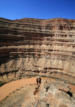 San Juan River overlook above a bend in the canyon in Southern Utah Stock Photo - 9504157
