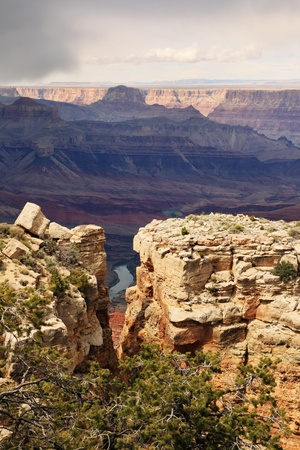 Colorado River in the bottom of the Grand Canyon viewed in a notch in the rocks at Moran Point on the south rim Stock Photo - 9533153