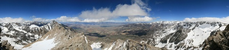 panorama from the summit of Basin Mountain including Mount Tom Bishop the White Mountains the Owens Valley and Mount Humphreys Stock Photo - 9771525