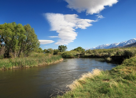 Owens River and a wave cloud beginning to form Stock Photo - 9883985