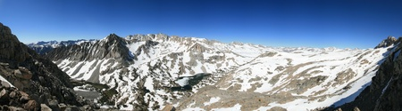 panorama of Piute Pass overlook in the Sierra Nevada Mountains from the side of Mount Emerson photo