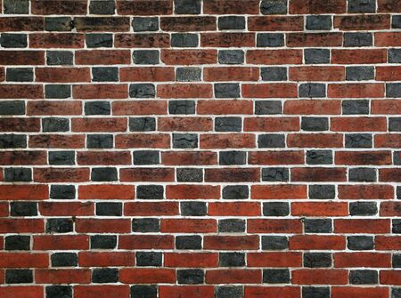 red and black brick wall with white mortar Stock Photo - 9883992
