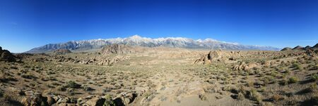 Alabama Hills Panorama with the Sierra Nevada Mountains along the horizon Stock Photo - 9948382