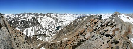 john muir wilderness: panorama from the summit of Mount Emerson looking south and west into the Sierra Nevada mountains Stock Photo