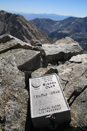 the crag: Temple Crag Summit Register on top of 12999 foot tall Temple Crag in the Sierra Nevada Mountains of California