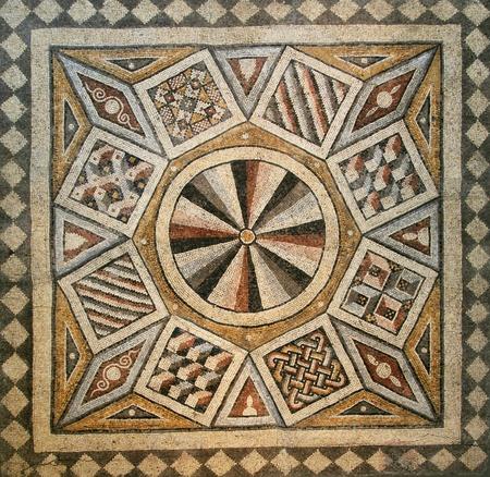 Roman mosaic tile floor with geometric pattern