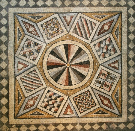 mosaic floor: Roman mosaic tile floor with geometric pattern