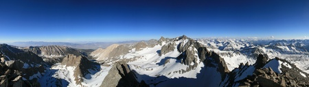 panorama of the Palisade range in the Sierra Nevada Mountains from Agassiz Peak photo