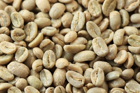 unroasted: green coffee beans background at an angle with selective focus