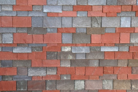 red and gray slate shingles in rows Stock Photo - 10526265
