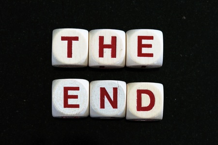 the end spelled out in letter blocks Stock Photo - 10563399