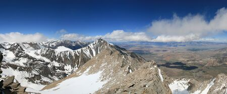 owens valley: panorama of the Sierra Nevada from the summit of Basin Mountain including Mount Tom Bishop the White Mountains and the Owens Valley Stock Photo