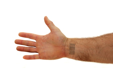 arm with bar code tattoo on the inside of the wrist isolated on white background Stock Photo