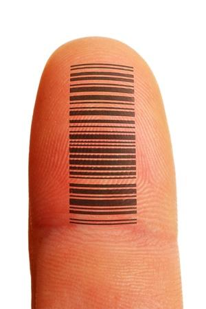 dito identificazione id con impronta digitale e codice a barre tatuaggio