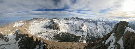 Panorama from the summit of University Peak in the Sierra Nevada Mountains looking to the south and west into Center Basin Stock Photo - 10844955