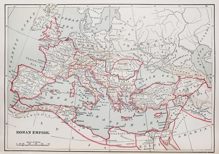 roman: historic Roman Empire Map from 1894 book