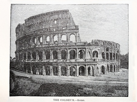 old print of the Roman Coliseum from an 1896 book