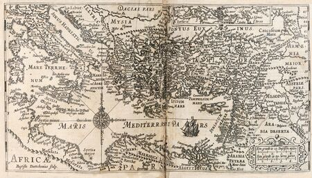 map of Mediterranean and surrounding area from 1647 Dutch Bible