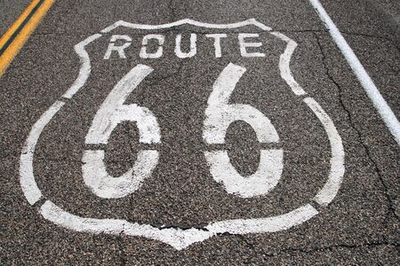 route 66 stenciled on the pavement in white paint Stock Photo - 11277418