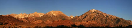 early morning panorama of the Sierra Nevada Mountains west of Bishop, California Stock Photo - 11454249