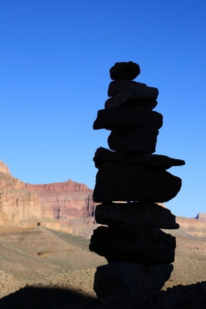shadowed: rock cairn silhouette along the Tonto Trail in the Grand Canyon